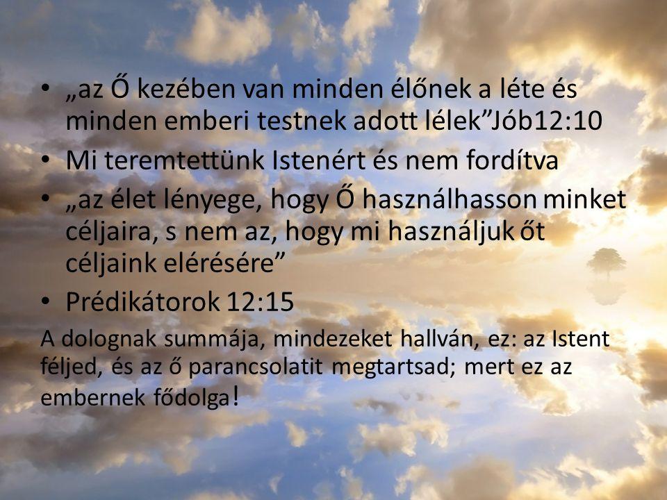 """""""az Ő kezében van minden élőnek a léte és minden emberi testnek adott lélek""""Jób12:10 Mi teremtettünk Istenért és nem fordítva """"az élet lényege, hogy Ő"""