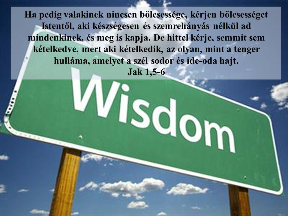 Ha pedig valakinek nincsen bölcsessége, kérjen bölcsességet Istentől, aki készségesen és szemrehányás nélkül ad mindenkinek, és meg is kapja. De hitte
