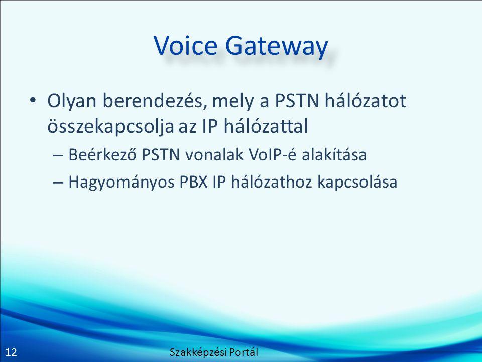 12 Voice Gateway Olyan berendezés, mely a PSTN hálózatot összekapcsolja az IP hálózattal – Beérkező PSTN vonalak VoIP-é alakítása – Hagyományos PBX IP