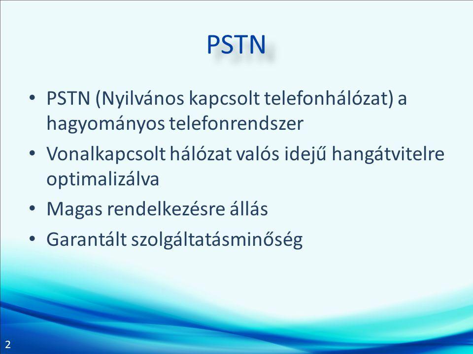 2 PSTN PSTN (Nyilvános kapcsolt telefonhálózat) a hagyományos telefonrendszer Vonalkapcsolt hálózat valós idejű hangátvitelre optimalizálva Magas rend