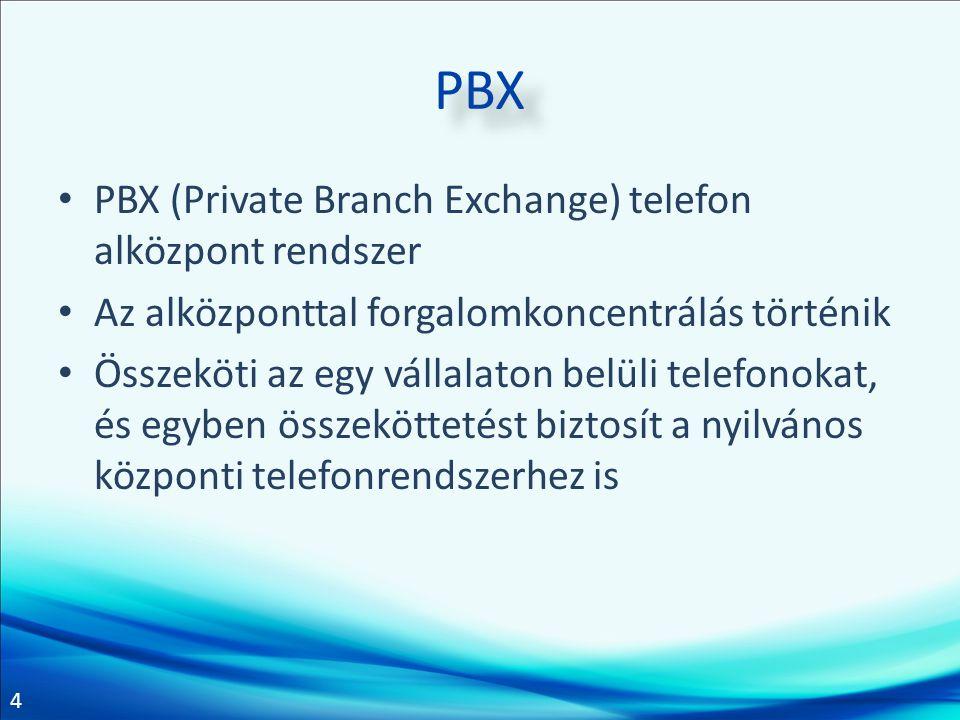 4 PBX PBX (Private Branch Exchange) telefon alközpont rendszer Az alközponttal forgalomkoncentrálás történik Összeköti az egy vállalaton belüli telefo