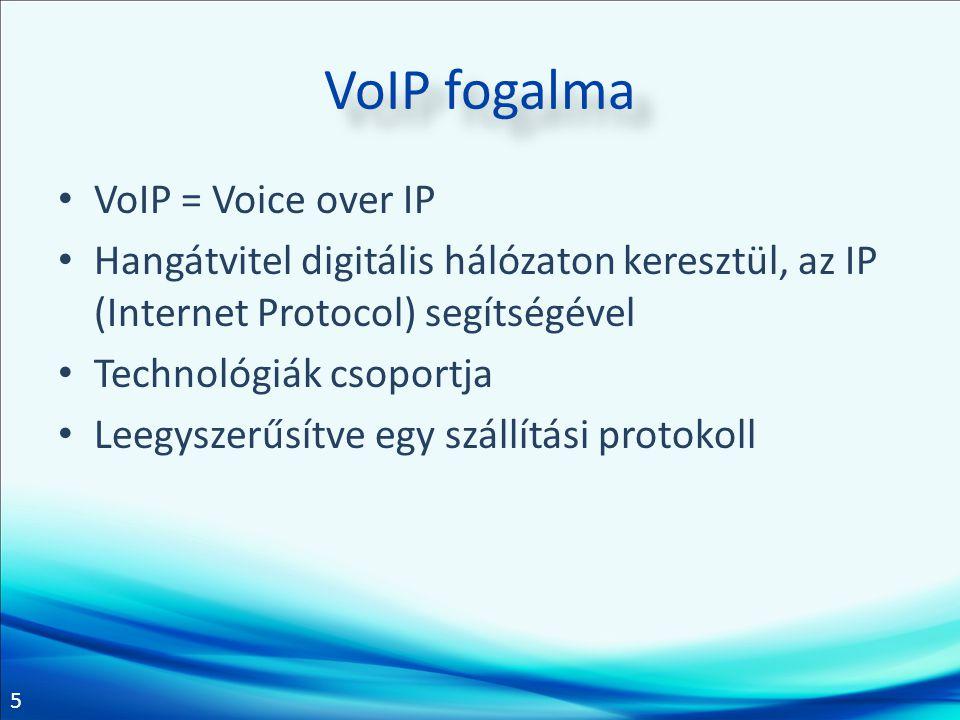 5 VoIP fogalma VoIP = Voice over IP Hangátvitel digitális hálózaton keresztül, az IP (Internet Protocol) segítségével Technológiák csoportja Leegyszer