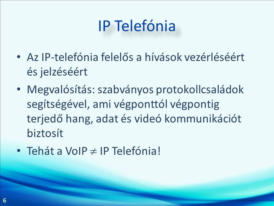 6 IP Telefónia Az IP-telefónia felelős a hívások vezérléséért és jelzéséért Megvalósítás: szabványos protokollcsaládok segítségével, ami végponttól vé
