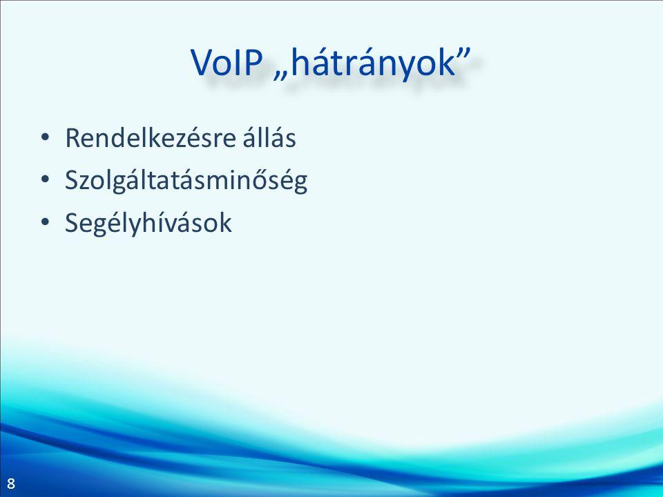 """8 VoIP """"hátrányok"""" Rendelkezésre állás Szolgáltatásminőség Segélyhívások"""