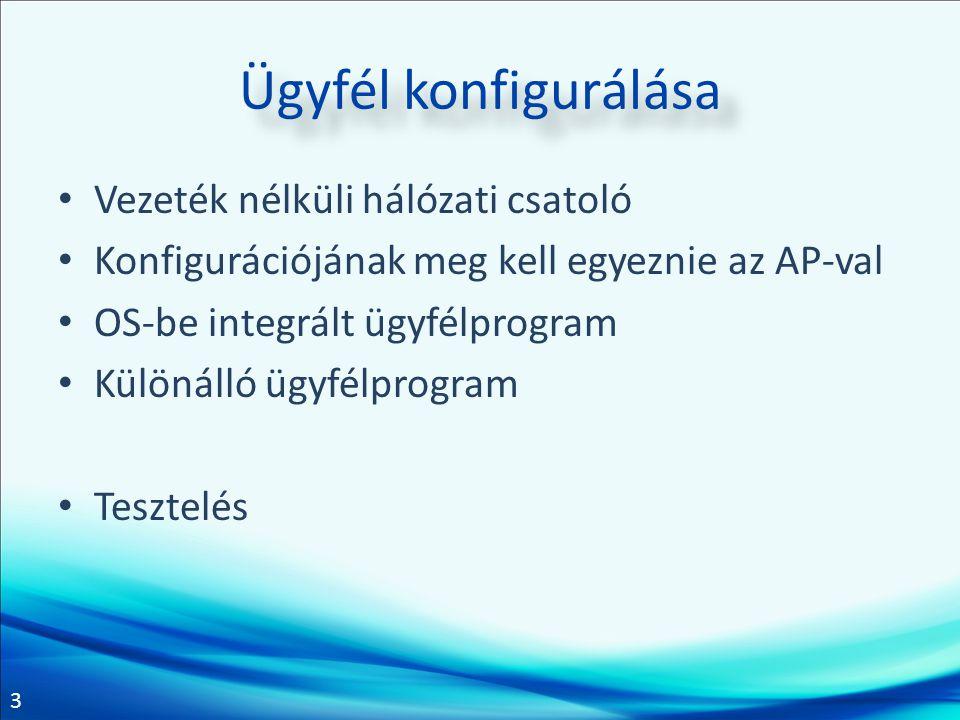 3 Ügyfél konfigurálása Vezeték nélküli hálózati csatoló Konfigurációjának meg kell egyeznie az AP-val OS-be integrált ügyfélprogram Különálló ügyfélpr