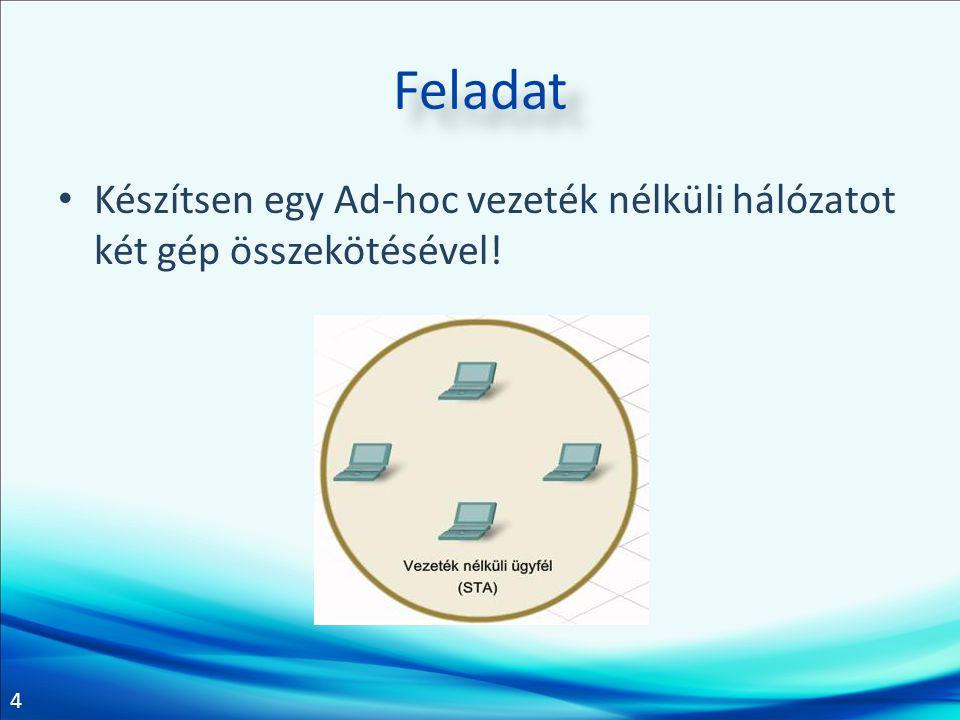5 Feladat Készítsen vezeték nélküli hálózatot AP segítségével két ügyfél között!