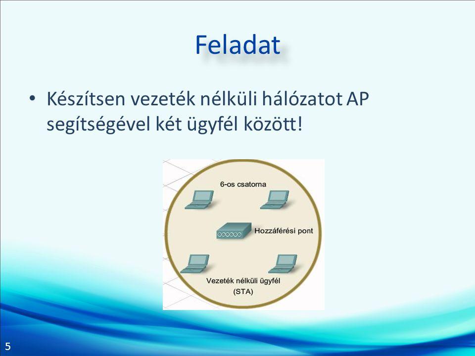 6 Feladat Konfiguráljon egy AP-t és két vezeték nélküli eszközt úgy, hogy az AP-n keresztül elérjék a kliensek az internetet!
