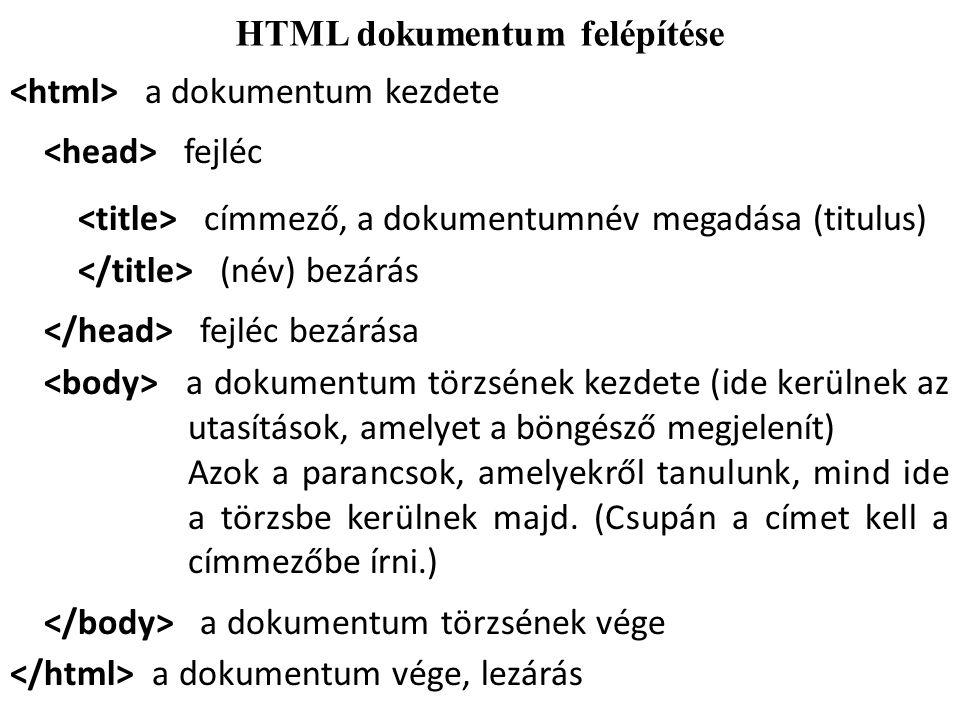 HTML dokumentum felépítése a dokumentum kezdete fejléc címmező, a dokumentumnév megadása (titulus) (név) bezárás fejléc bezárása a dokumentum törzsének kezdete (ide kerülnek az utasítások, amelyet a böngésző megjelenít) Azok a parancsok, amelyekről tanulunk, mind ide a törzsbe kerülnek majd.