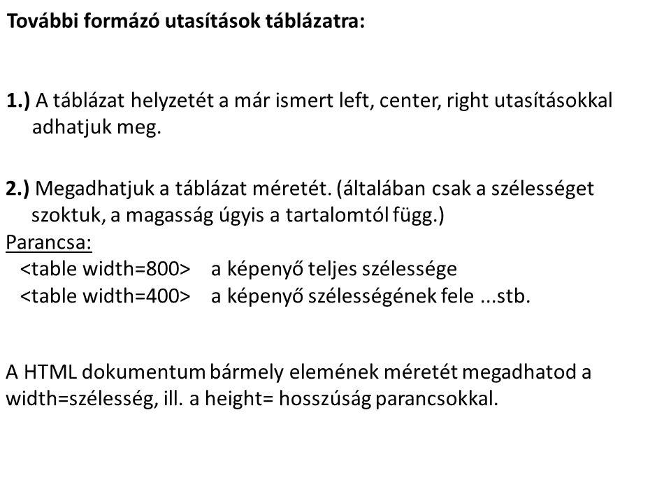 További formázó utasítások táblázatra: 1.) A táblázat helyzetét a már ismert left, center, right utasításokkal adhatjuk meg.