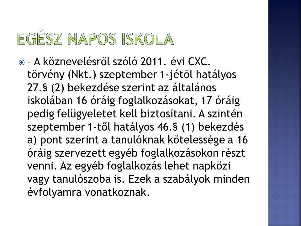  – A köznevelésről szóló 2011. évi CXC.