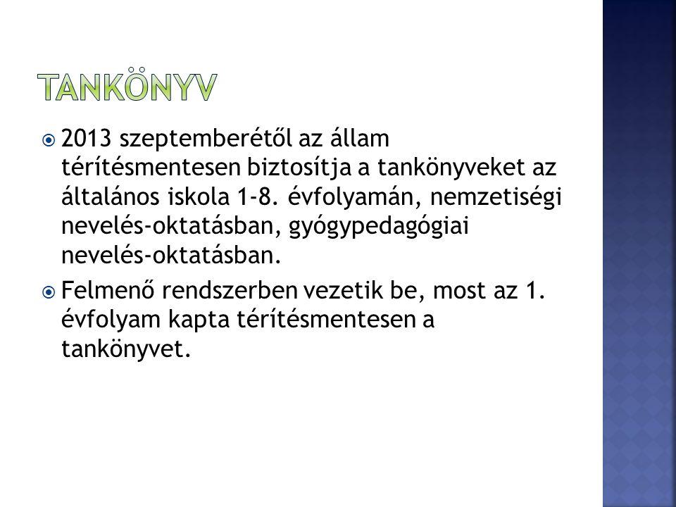  2013 szeptemberétől az állam térítésmentesen biztosítja a tankönyveket az általános iskola 1-8.