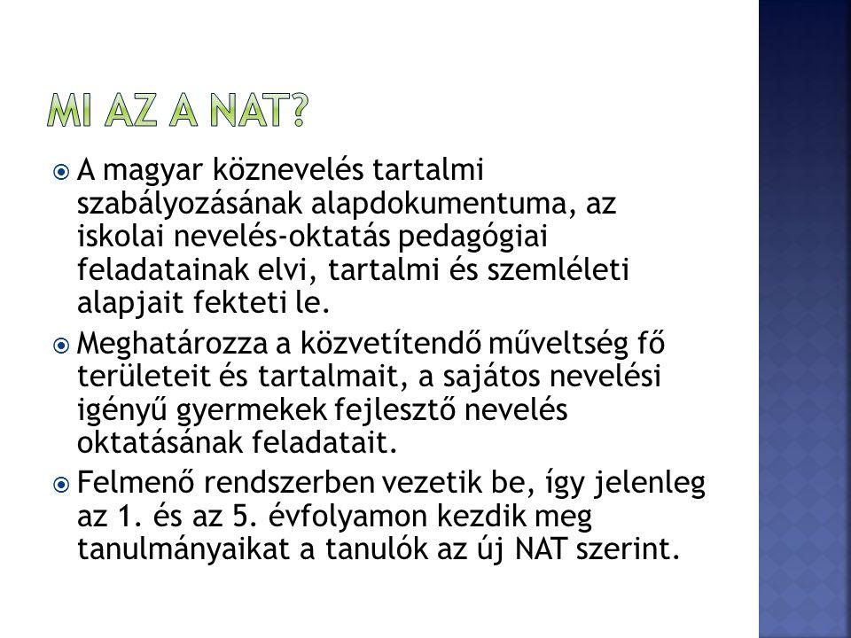  A magyar köznevelés tartalmi szabályozásának alapdokumentuma, az iskolai nevelés-oktatás pedagógiai feladatainak elvi, tartalmi és szemléleti alapjait fekteti le.