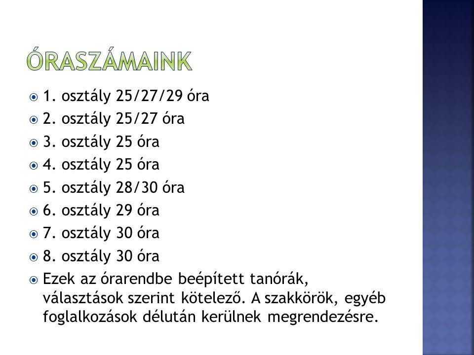  1. osztály 25/27/29 óra  2. osztály 25/27 óra  3.