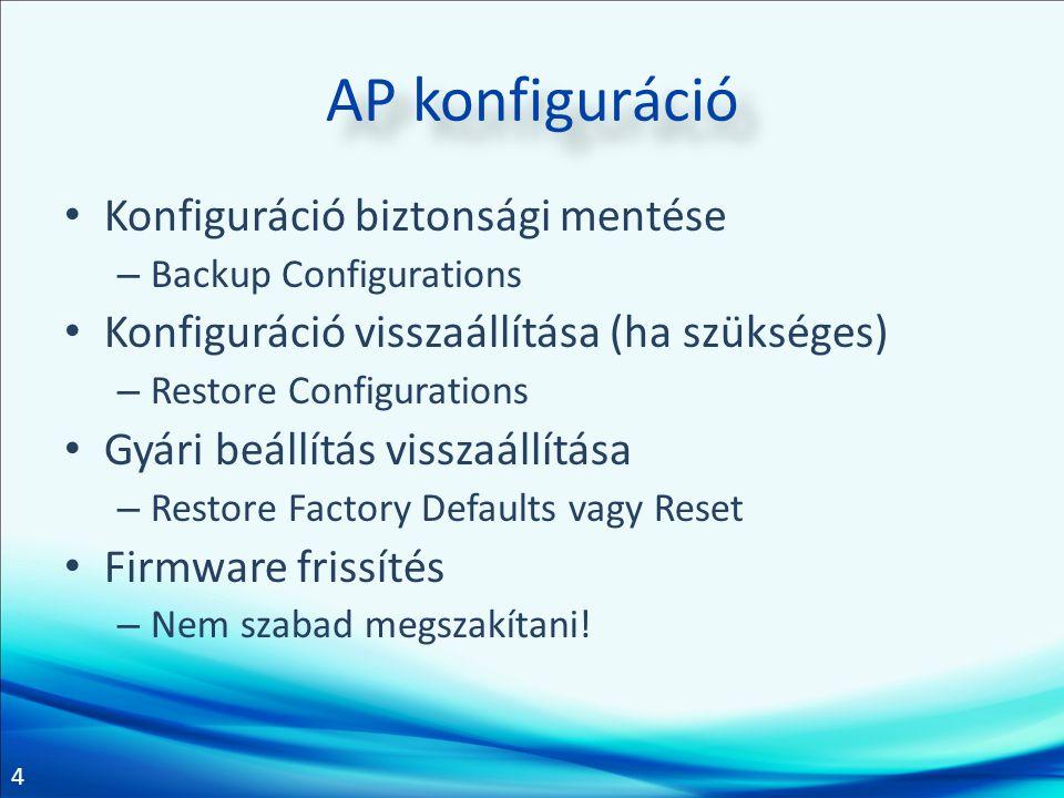 4 AP konfiguráció Konfiguráció biztonsági mentése – Backup Configurations Konfiguráció visszaállítása (ha szükséges) – Restore Configurations Gyári beállítás visszaállítása – Restore Factory Defaults vagy Reset Firmware frissítés – Nem szabad megszakítani!