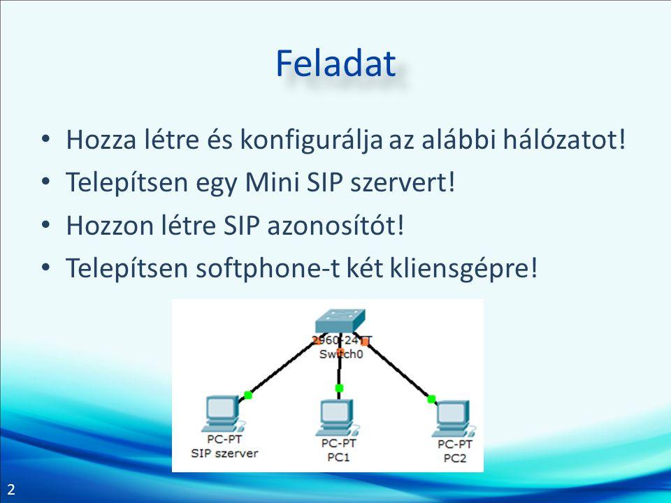 2 Feladat Hozza létre és konfigurálja az alábbi hálózatot.