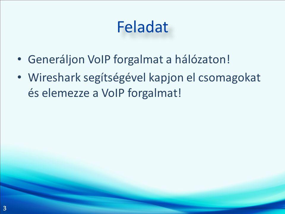 3 Feladat Generáljon VoIP forgalmat a hálózaton.