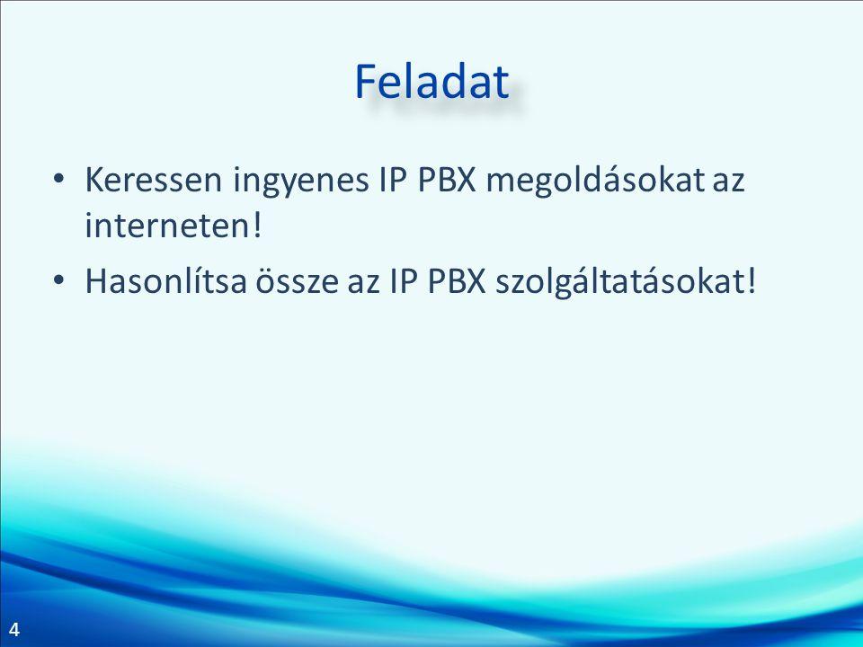 4 Feladat Keressen ingyenes IP PBX megoldásokat az interneten.