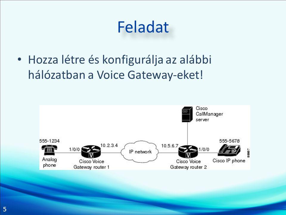 5 Feladat Hozza létre és konfigurálja az alábbi hálózatban a Voice Gateway-eket!