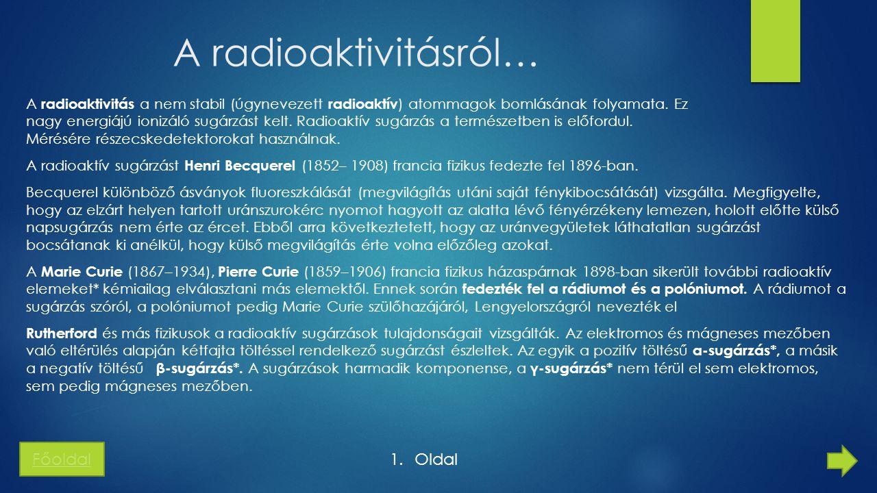 A radioaktivitásról… A RADIOAKTÍV SUGÁRZÁS FAJTÁI ÉS LEGFONTOSABB TULAJDONSÁGAI Kísérletek alapján kimutatták, hogy —Az α sugárzást alkotó részecskék nagy energiájú héliumatommagok.