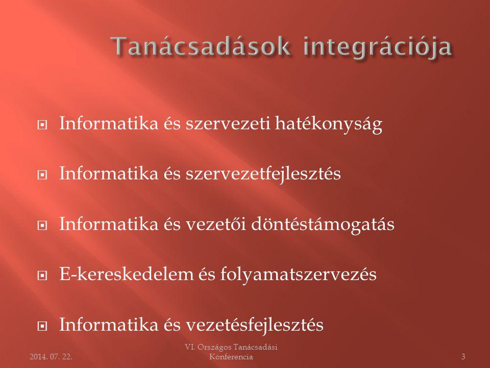  Informatika és szervezeti hatékonyság  Informatika és szervezetfejlesztés  Informatika és vezetői döntéstámogatás  E-kereskedelem és folyamatszervezés  Informatika és vezetésfejlesztés VI.