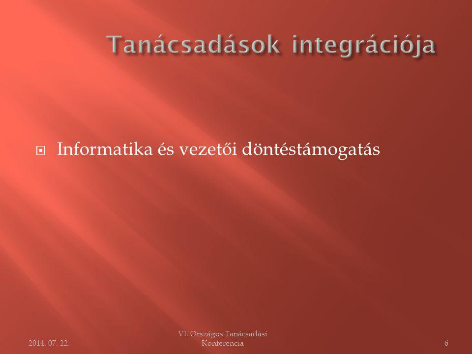  Informatika és vezetői döntéstámogatás VI. Országos Tanácsadási Konferencia62014. 07. 22.