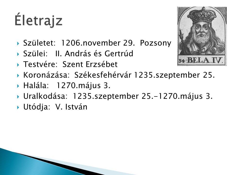  Születet: 1206.november 29. Pozsony  Szülei: II. András és Gertrúd  Testvére: Szent Erzsébet  Koronázása: Székesfehérvár 1235.szeptember 25.  Ha