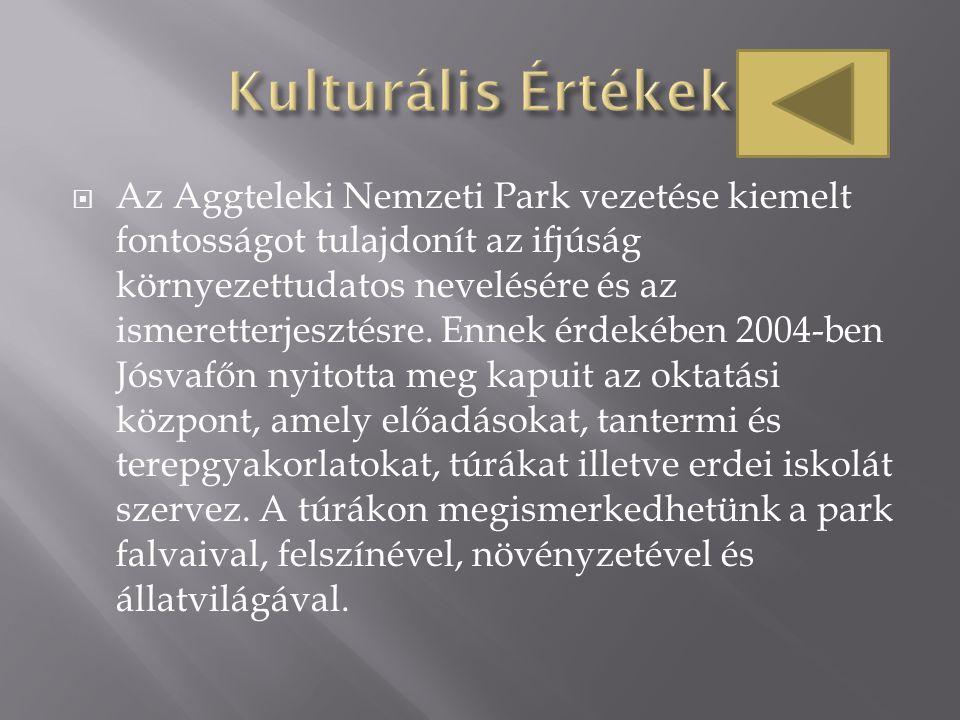  Az Aggteleki Nemzeti Park vezetése kiemelt fontosságot tulajdonít az ifjúság környezettudatos nevelésére és az ismeretterjesztésre. Ennek érdekében