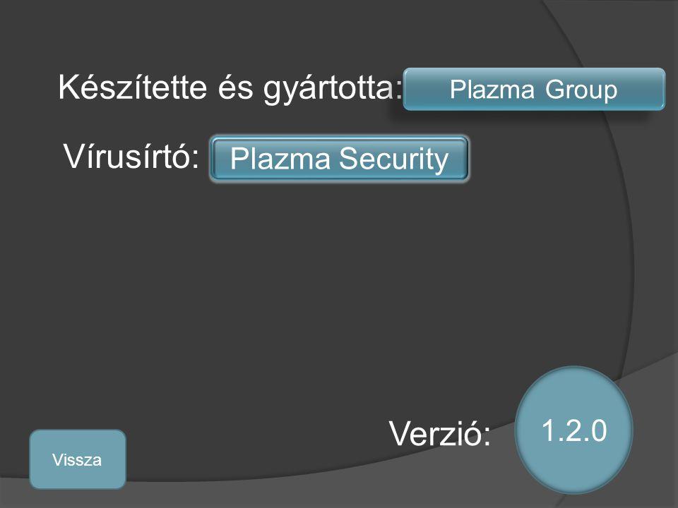 Készítette és gyártotta: Plazma Group Vírusírtó: Plazma Security 1.2.0 Verzió: Vissza