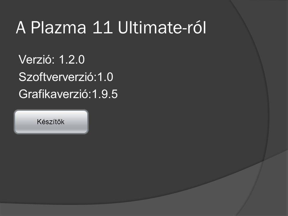 A Plazma 11 Ultimate-ról Verzió: 1.2.0 Szoftververzió:1.0 Grafikaverzió:1.9.5 Készítők