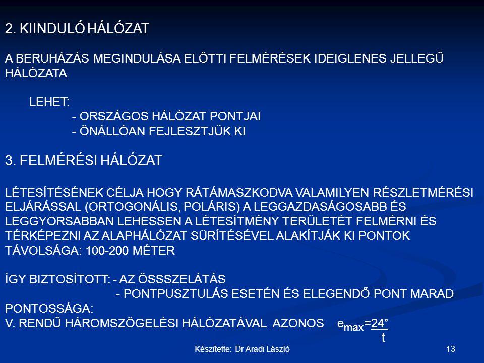 13Készítette: Dr Aradi László 2. KIINDULÓ HÁLÓZAT A BERUHÁZÁS MEGINDULÁSA ELŐTTI FELMÉRÉSEK IDEIGLENES JELLEGŰ HÁLÓZATA LEHET: - ORSZÁGOS HÁLÓZAT PONT