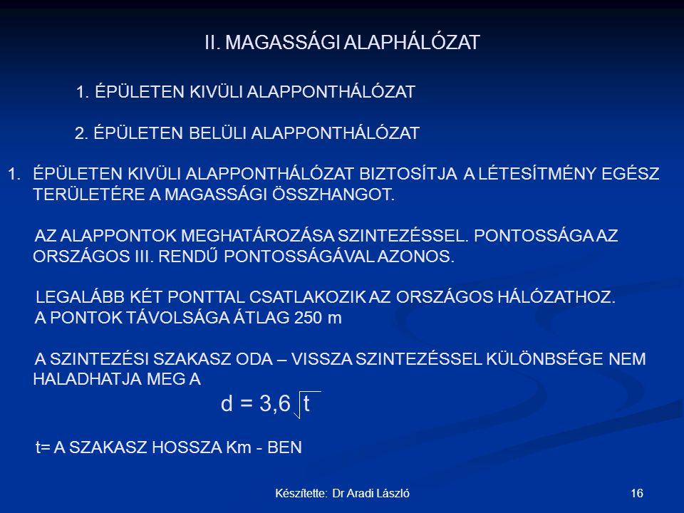 16Készítette: Dr Aradi László II. MAGASSÁGI ALAPHÁLÓZAT 1. ÉPÜLETEN KIVÜLI ALAPPONTHÁLÓZAT 2. ÉPÜLETEN BELÜLI ALAPPONTHÁLÓZAT 1.ÉPÜLETEN KIVÜLI ALAPPO