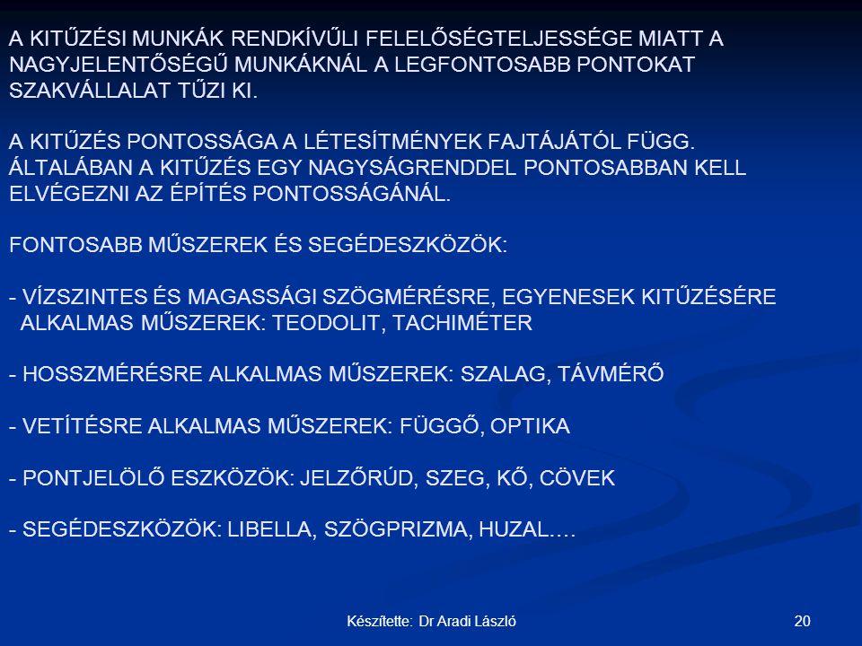 20Készítette: Dr Aradi László A KITŰZÉSI MUNKÁK RENDKÍVŰLI FELELŐSÉGTELJESSÉGE MIATT A NAGYJELENTŐSÉGŰ MUNKÁKNÁL A LEGFONTOSABB PONTOKAT SZAKVÁLLALAT