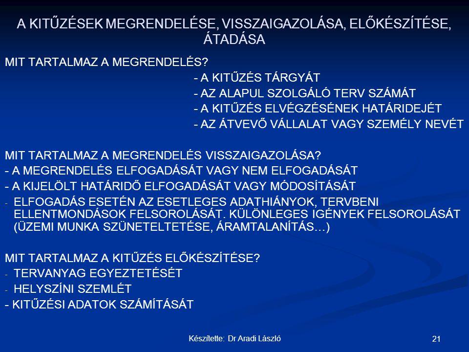 Készítette: Dr Aradi László 21 A KITŰZÉSEK MEGRENDELÉSE, VISSZAIGAZOLÁSA, ELŐKÉSZÍTÉSE, ÁTADÁSA MIT TARTALMAZ A MEGRENDELÉS? - A KITŰZÉS TÁRGYÁT - AZ
