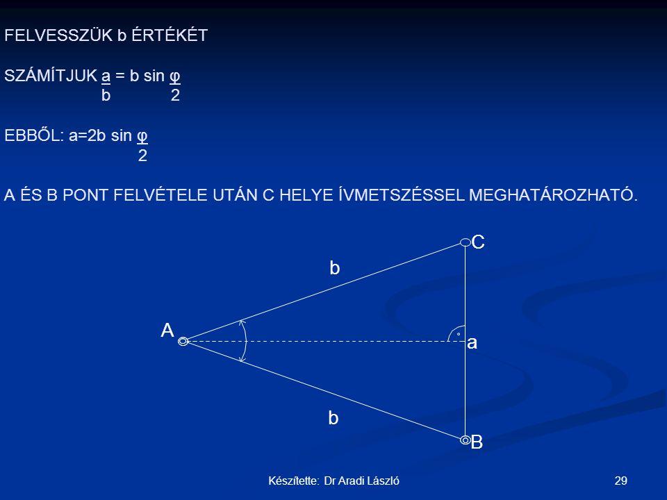 29Készítette: Dr Aradi László FELVESSZÜK b ÉRTÉKÉT SZÁMÍTJUK a = b sin φ b 2 EBBŐL: a=2b sin φ 2 A ÉS B PONT FELVÉTELE UTÁN C HELYE ÍVMETSZÉSSEL MEGHA