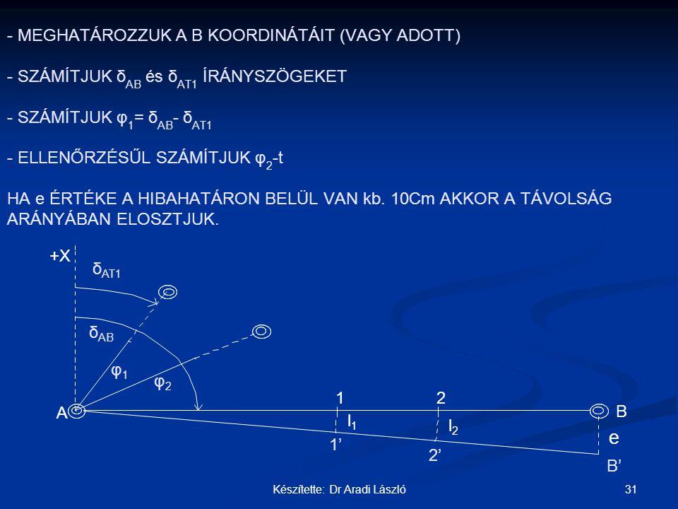 31Készítette: Dr Aradi László - - MEGHATÁROZZUK A B KOORDINÁTÁIT (VAGY ADOTT) - SZÁMÍTJUK δ AB és δ AT1 ÍRÁNYSZÖGEKET - SZÁMÍTJUK φ 1 = δ AB - δ AT1 -