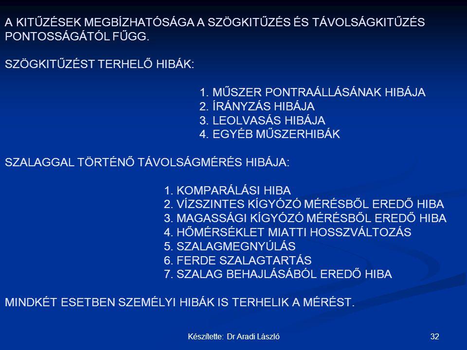 32Készítette: Dr Aradi László A KITŰZÉSEK MEGBÍZHATÓSÁGA A SZÖGKITŰZÉS ÉS TÁVOLSÁGKITŰZÉS PONTOSSÁGÁTÓL FŰGG. SZÖGKITŰZÉST TERHELŐ HIBÁK: 1. MŰSZER PO