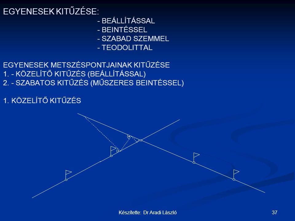37Készítette: Dr Aradi László EGYENESEK KITŰZÉSE: - BEÁLLÍTÁSSAL - BEINTÉSSEL - SZABAD SZEMMEL - TEODOLITTAL EGYENESEK METSZÉSPONTJAINAK KITŰZÉSE 1. -