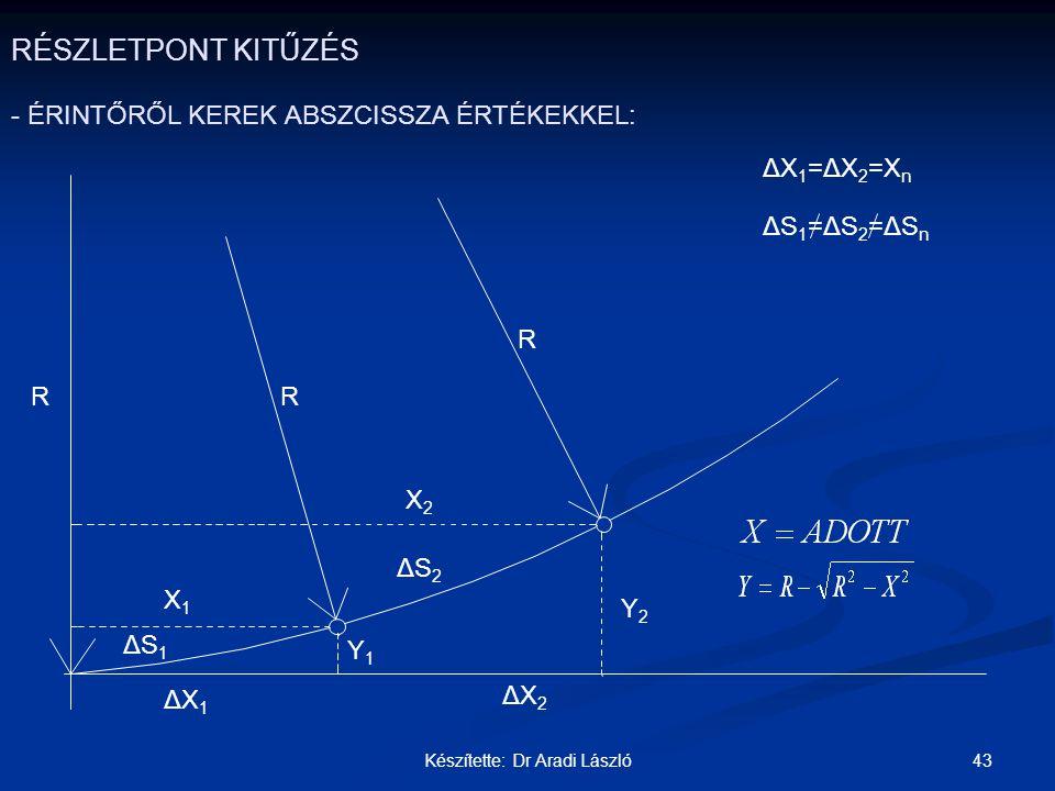 43Készítette: Dr Aradi László RÉSZLETPONT KITŰZÉS - ÉRINTŐRŐL KEREK ABSZCISSZA ÉRTÉKEKKEL: R R Y1Y1 Y2Y2 ΔS 1 ΔS 2 R X2X2 X1X1 ΔX 1 =ΔX 2 =X n ΔS 1 =Δ