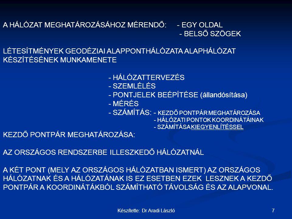 7Készítette: Dr Aradi László A HÁLÓZAT MEGHATÁROZÁSÁHOZ MÉRENDŐ: - EGY OLDAL - BELSŐ SZÖGEK LÉTESÍTMÉNYEK GEODÉZIAI ALAPPONTHÁLÓZATA ALAPHÁLÓZAT KÉSZÍ