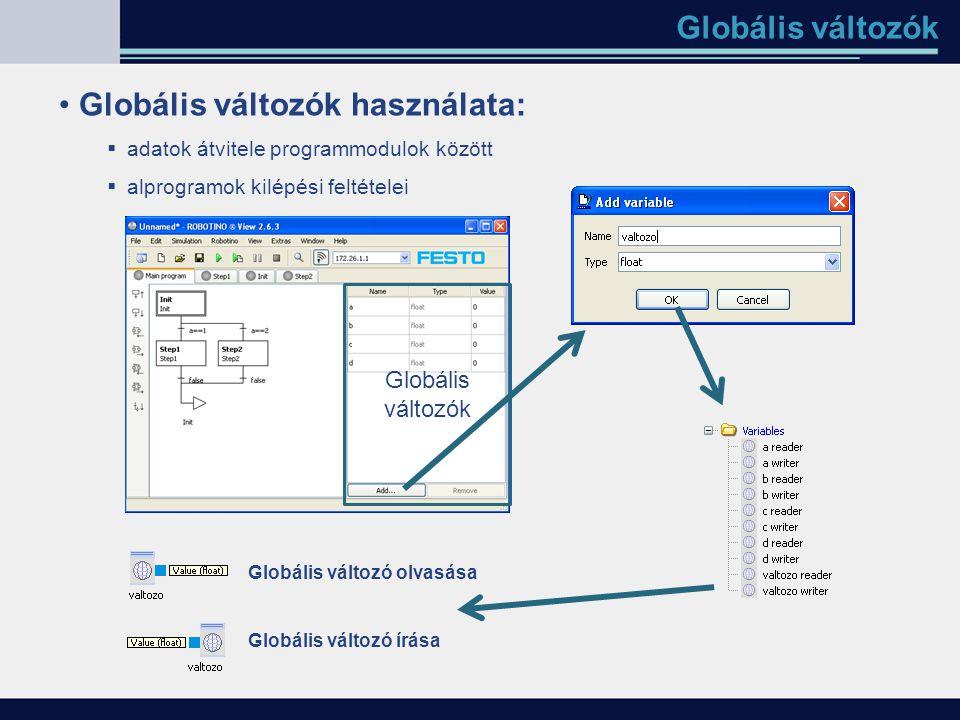 Globális változók Globális változók használata:  adatok átvitele programmodulok között  alprogramok kilépési feltételei Globális változók Globális v