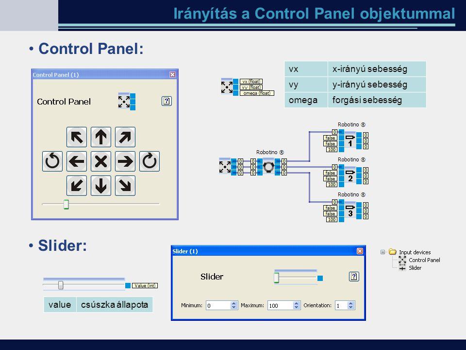 Irányítás a Control Panel objektummal Control Panel: vxx-irányú sebesség vyy-irányú sebesség omegaforgási sebesség Slider: valuecsúszka állapota