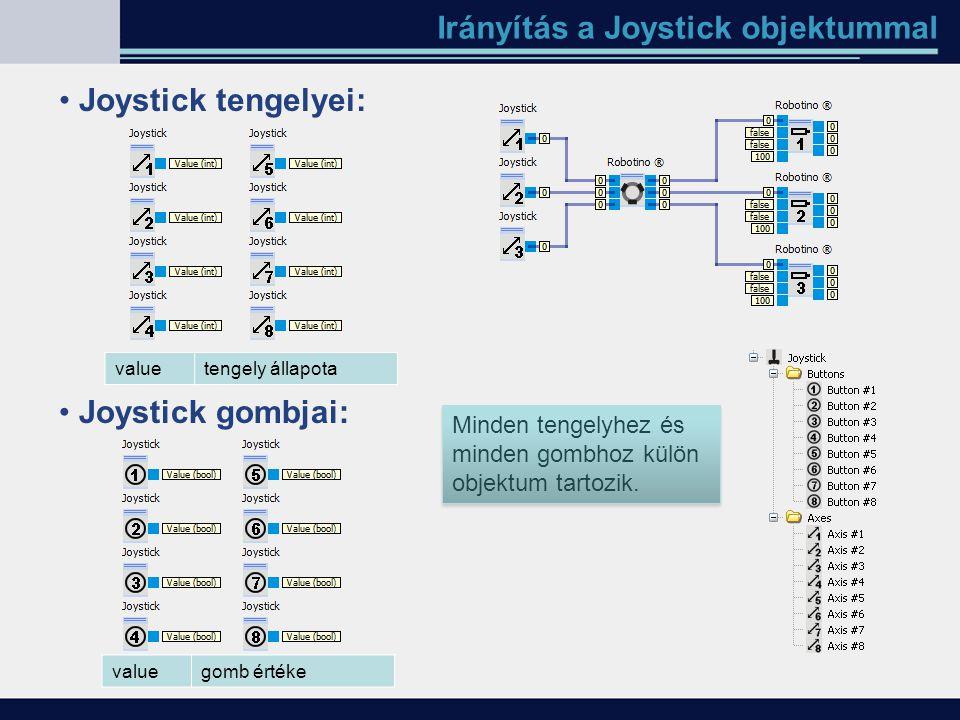 Irányítás a Joystick objektummal Joystick tengelyei: valuetengely állapota Joystick gombjai: valuegomb értéke Minden tengelyhez és minden gombhoz külö