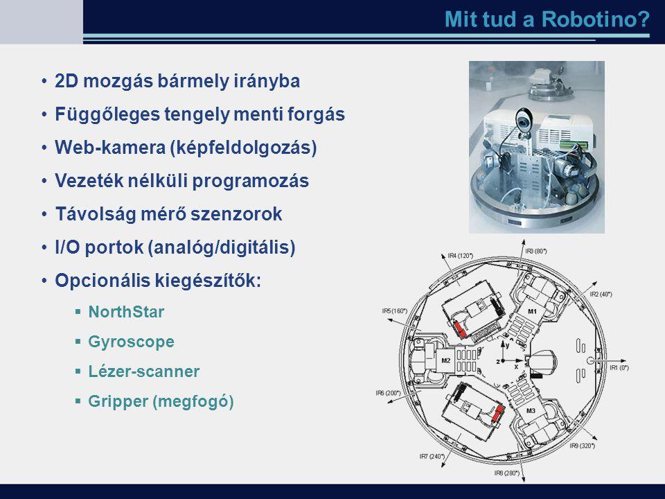 Mit tud a Robotino? 2D mozgás bármely irányba Függőleges tengely menti forgás Web-kamera (képfeldolgozás) Vezeték nélküli programozás Távolság mérő sz