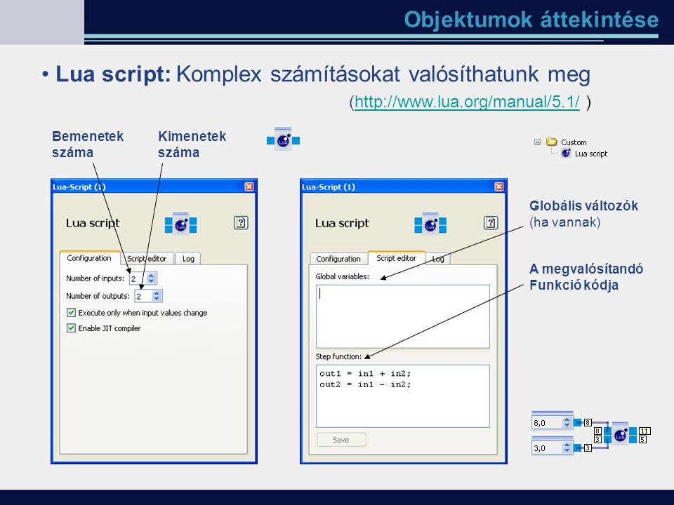Objektumok áttekintése Lua script: Komplex számításokat valósíthatunk meg Bemenetek száma Kimenetek száma Globális változók (ha vannak) A megvalósítan
