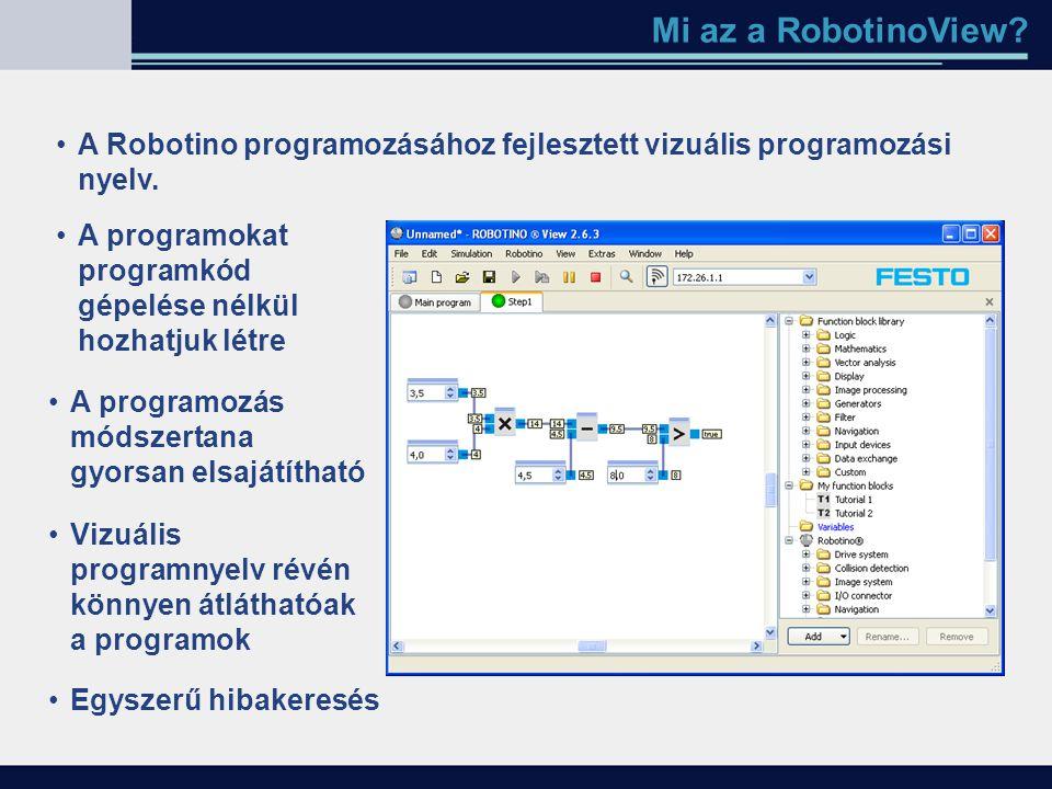 Mi az a RobotinoView? A Robotino programozásához fejlesztett vizuális programozási nyelv. A programokat programkód gépelése nélkül hozhatjuk létre A p