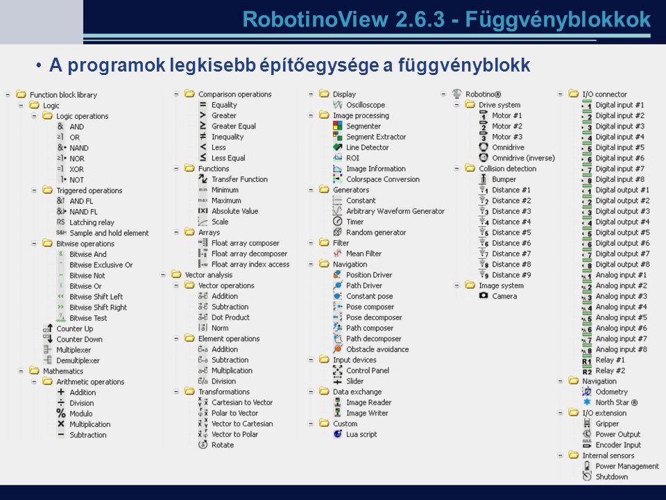 RobotinoView 2.6.3 - Függvényblokkok A programok legkisebb építőegysége a függvényblokk
