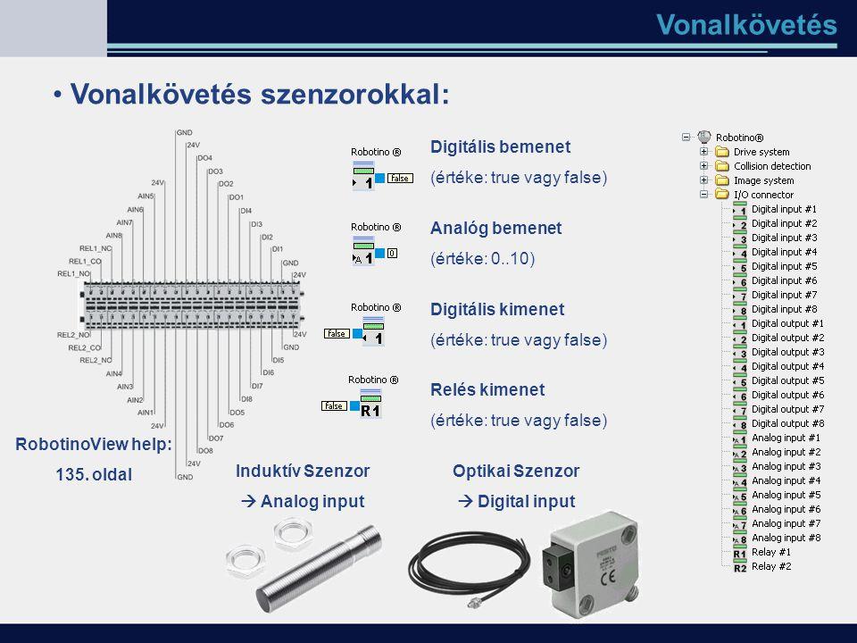 Vonalkövetés Vonalkövetés szenzorokkal: Digitális bemenet (értéke: true vagy false) Analóg bemenet (értéke: 0..10) Digitális kimenet (értéke: true vag