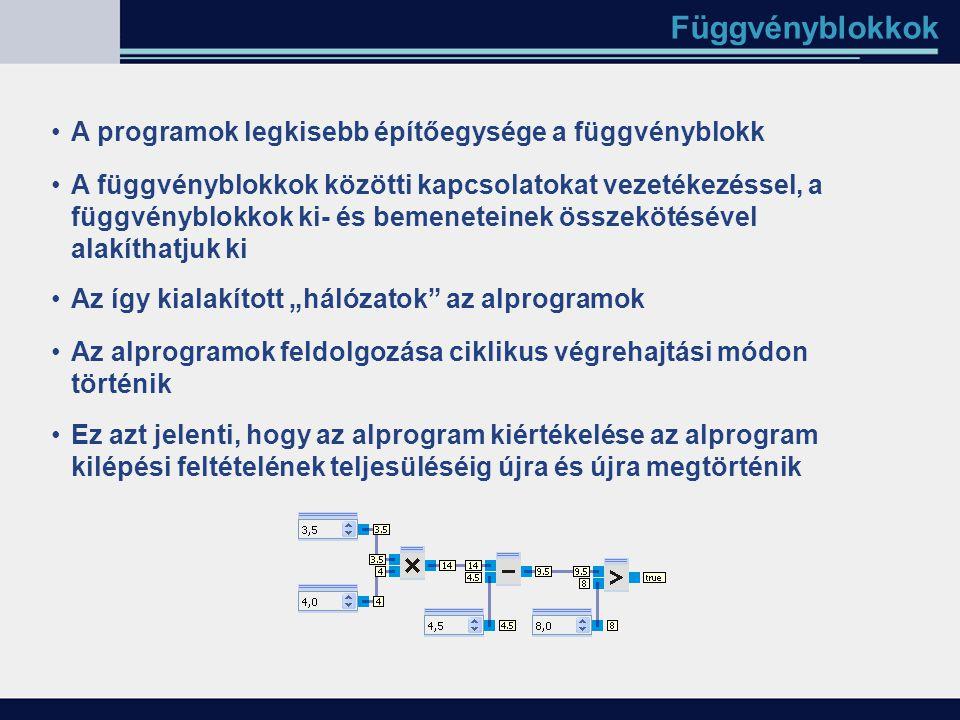 Függvényblokkok A függvényblokkok közötti kapcsolatokat vezetékezéssel, a függvényblokkok ki- és bemeneteinek összekötésével alakíthatjuk ki Az így ki