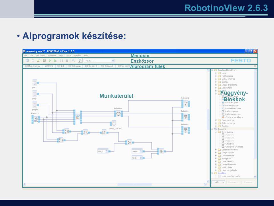 RobotinoView 2.6.3 Alprogramok készítése: Munkaterület Függvény- Blokkok Alprogram fülek Eszközsor Menüsor