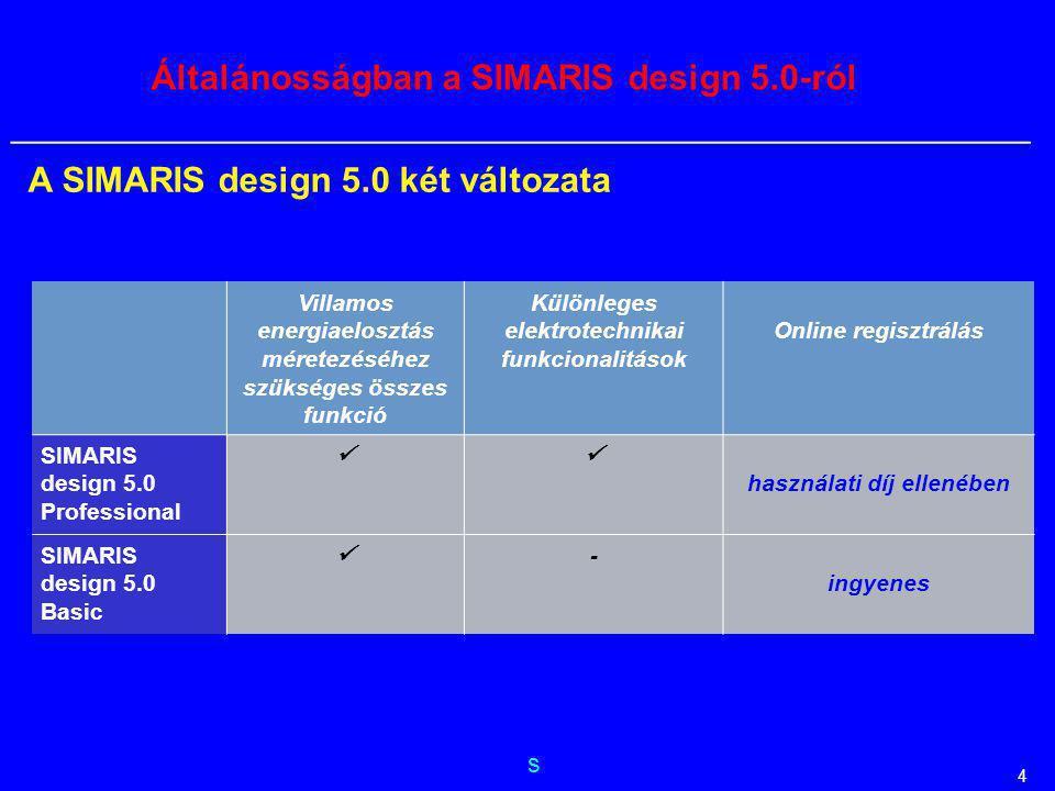 s __________________________________________________________ 4 Általánosságban a SIMARIS design 5.0-ról Villamos energiaelosztás méretezéséhez szükség